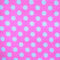 PET BED - STENZO BLUE POLKA DOTS ON FUSCIA PINK
